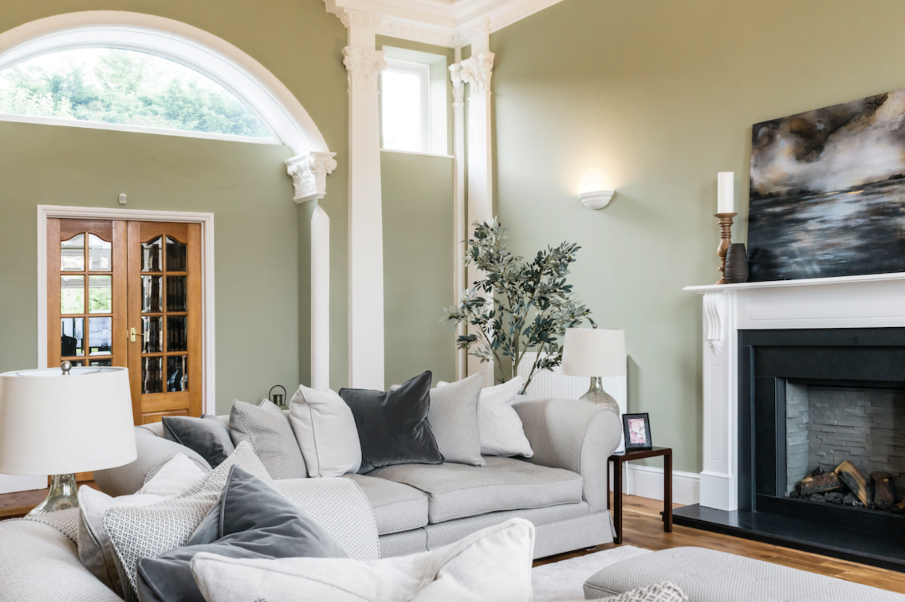 Formal Living Room with High Ceiling and Period Features