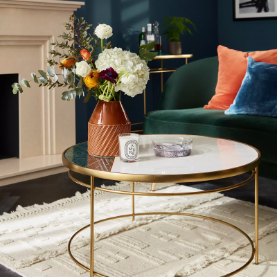 John Lewis & Partners + Swoon Sartre Marble Coffee Table, Gold/Green