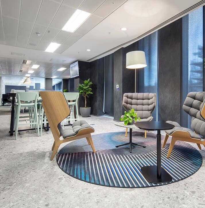 Carpet tiles and Luxury Vinyl Tiles Complete the Look