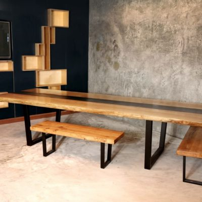Live edge river table with Microcement centre