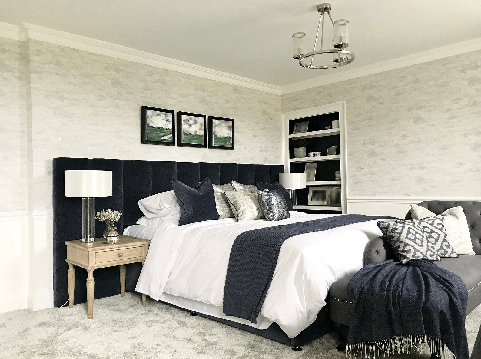 Navy and White Master Bedroom and En-Suite in Georgian Home